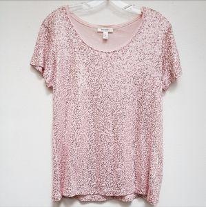 Dressbarn Pink Sequin Top